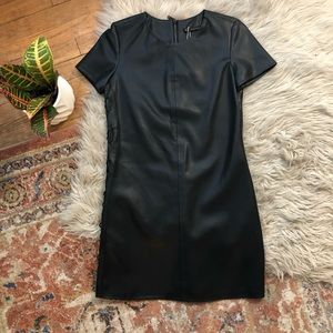 Zara Black Faux Leather Mini Dress